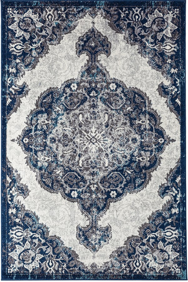Navy, Ivory Traditional / Oriental Area Rug