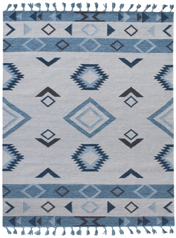 Blue, Cream Southwestern / Lodge Area Rug