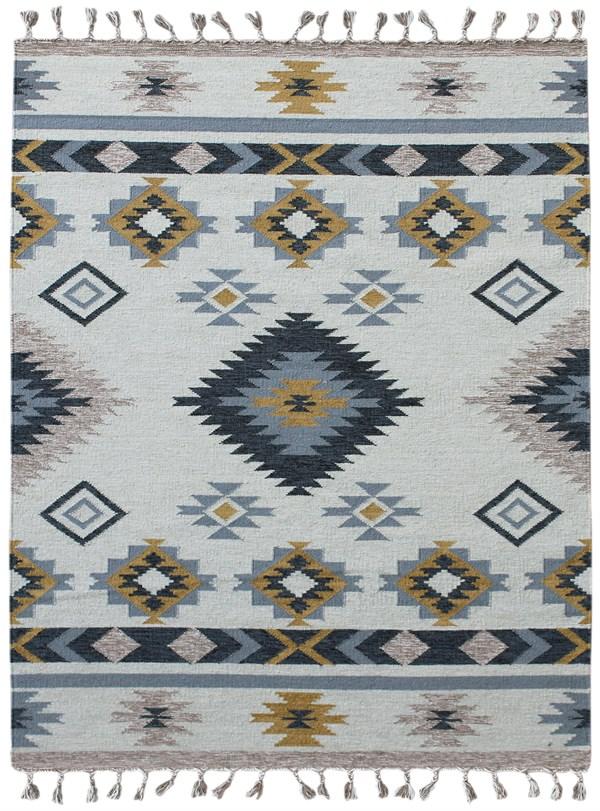 Cream, Grey, Yellow Southwestern / Lodge Area Rug