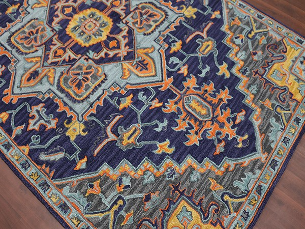 Indigo, Yellow, Orange, Sky Bohemian Area Rug
