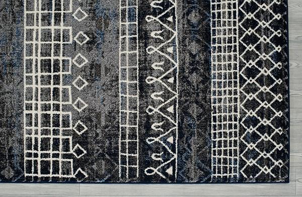 Charcoal, White Shag Area Rug