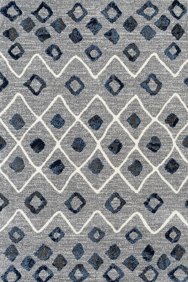 Steel Blue, Gray Shag Area Rug
