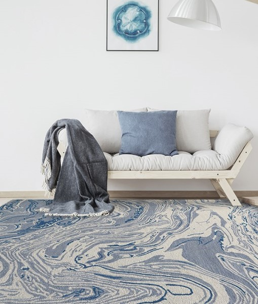 Light Blue Abstract Area Rug