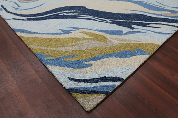 Azure Blue Abstract Area Rug