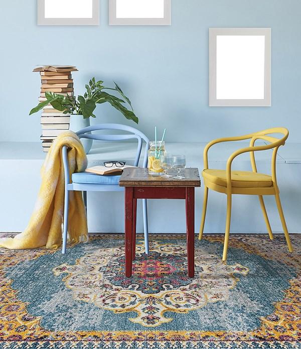 Blue, Yellow, Pink Bohemian Area Rug