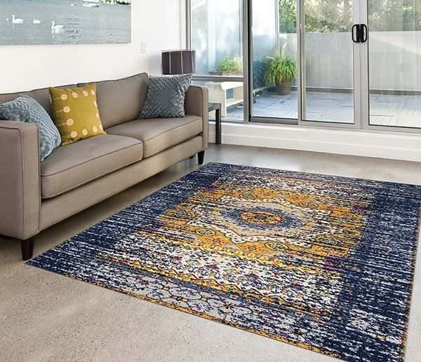 Navy, Yellow, Ivory Bohemian Area Rug