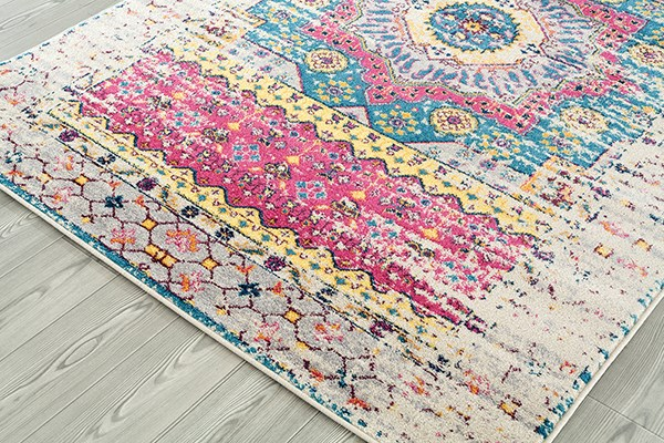 Ivory, Pink, Blue, Yellow Vintage / Overdyed Area Rug