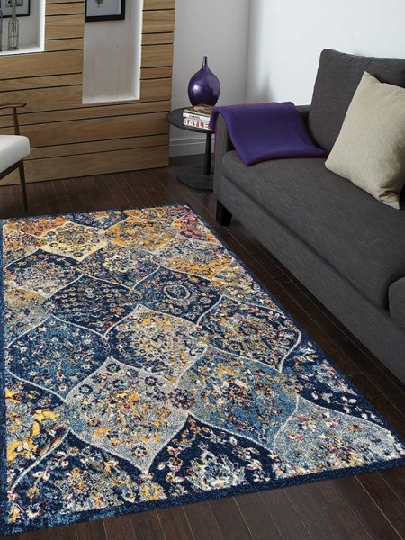 Blue, Yellow, Cream Bohemian Area Rug