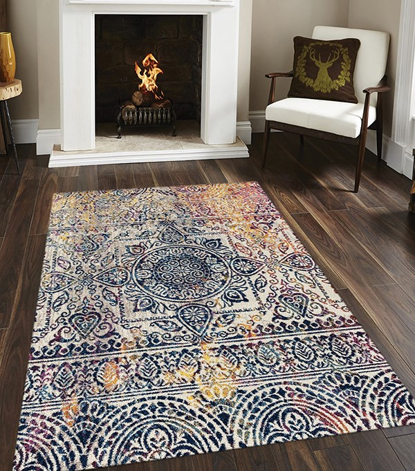Navy, Yellow, Amber, Pink Bohemian Area Rug