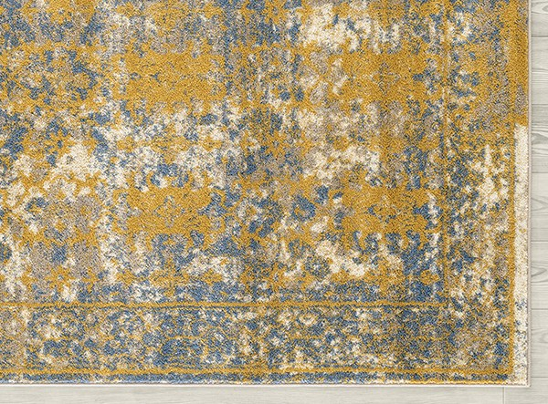 Gold, Blue, Ivory Bohemian Area Rug