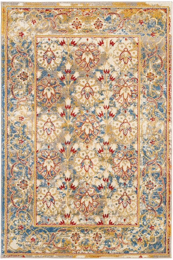 Ivory, Gold, Blue Bohemian Area Rug
