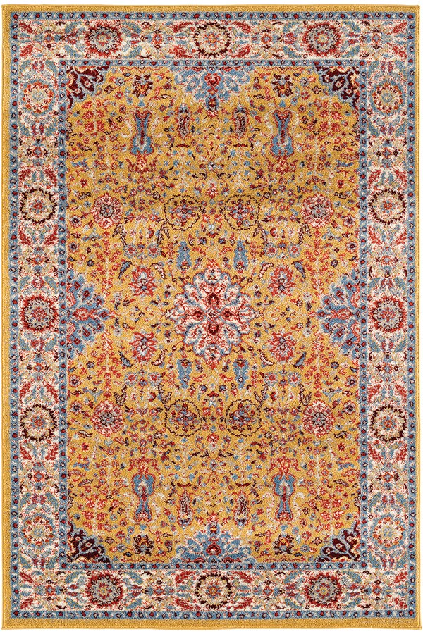 Gold, Blue, Red Bohemian Area Rug