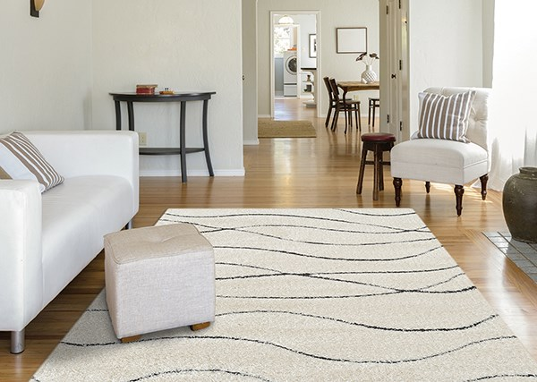 Cream Contemporary / Modern Area Rug