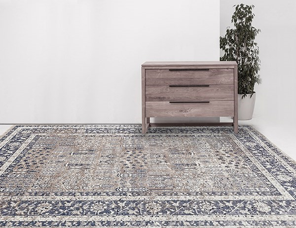 Beige, Grey, Blue Traditional / Oriental Area Rug