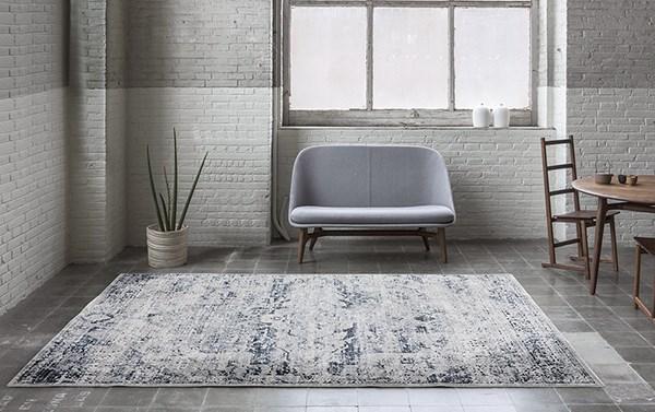 Grey, Cream Traditional / Oriental Area Rug