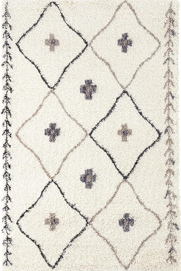 Ivory, Grey, Beige Shag Area Rug