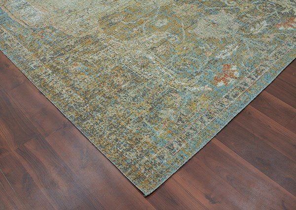 Tan, White, Turquoise, Orange, Yellow Traditional / Oriental Area Rug