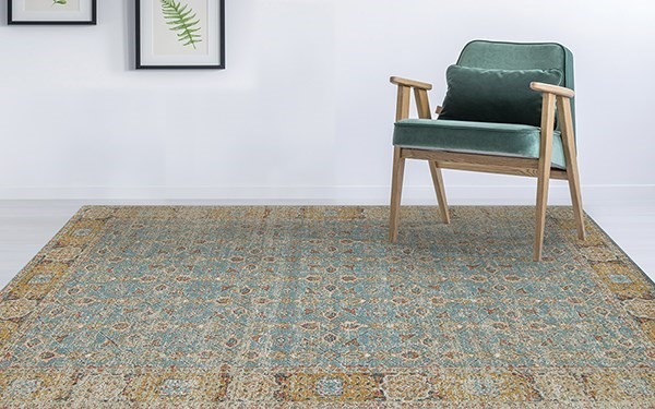 Teal, Orange, Yellow, Ivory Traditional / Oriental Area Rug