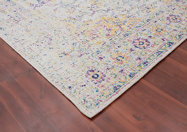 Ivory, Pink, Yellow, Navy, Blue Vintage / Overdyed Area Rug
