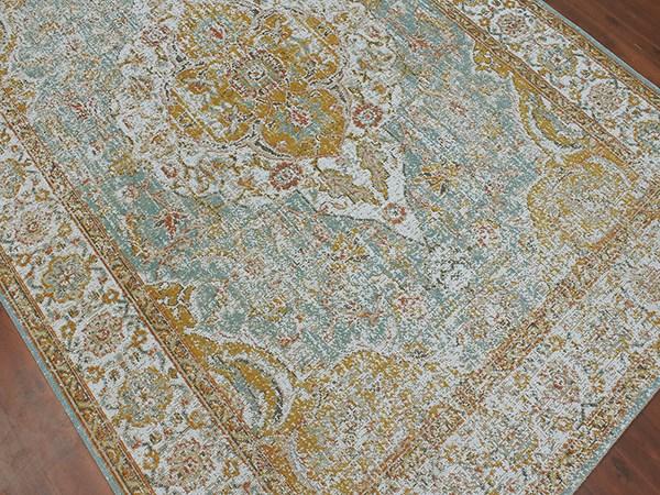 Teal, Gold, Orange, Ivory Traditional / Oriental Area Rug