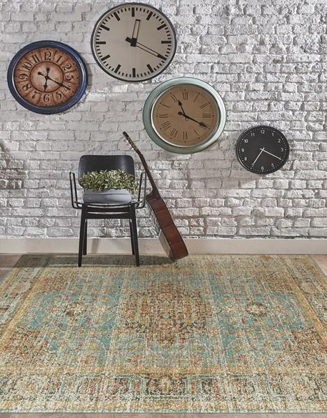 Teal, Green, Blue, Ivory, Orange Vintage / Overdyed Area Rug