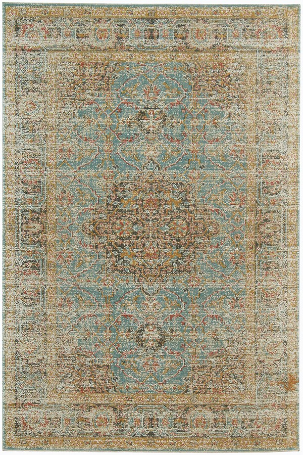 Teal, Green, Blue, Ivory, Orange Vintage / Overdyed Area Rug
