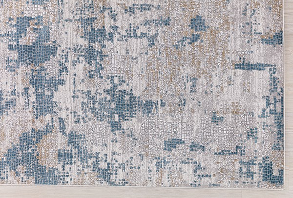 Blue, Ivory, Cream Abstract Area Rug