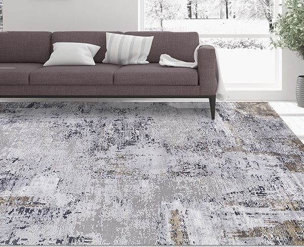 Grey, Gold, Ivory Abstract Area Rug