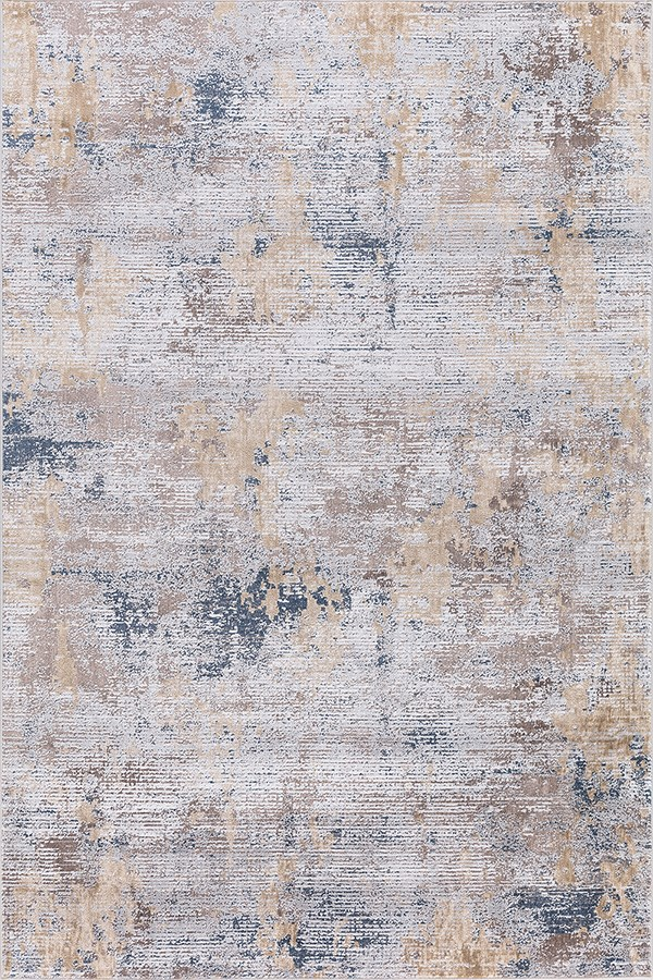 Cream, Blue, Ivory Abstract Area Rug