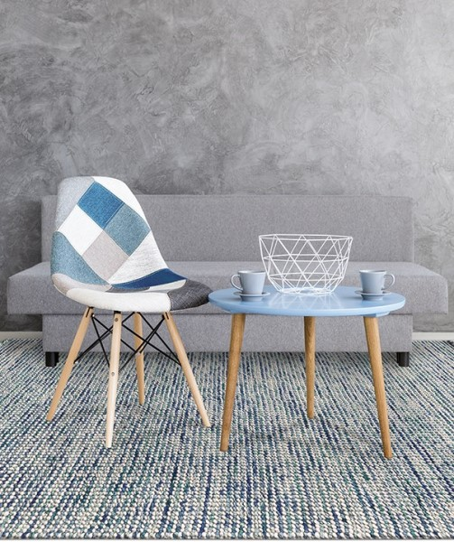 Blue, Green, Ivory (VIV-01) Contemporary / Modern Area Rug
