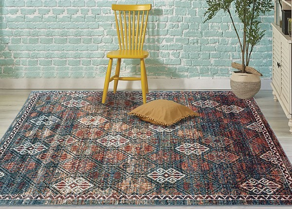 Teal, Blue, Ivory, Black, Red, Orange Traditional / Oriental Area Rug