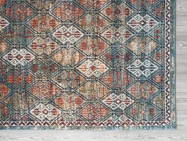 Teal, Blue, Ivory, Black, Red, Orange Traditional / Oriental Area Rug
