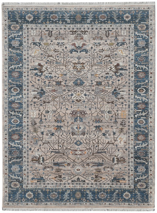 Blue, Taupe, Ivory (ARC-4) Traditional / Oriental Area Rug