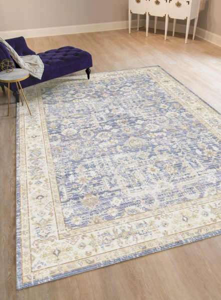Navy, Taupe, Gold Vintage / Overdyed Area Rug