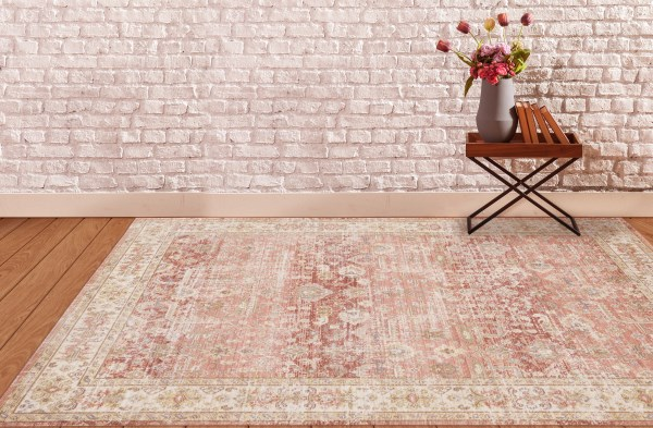 Ivory, Pink, Red Vintage / Overdyed Area Rug