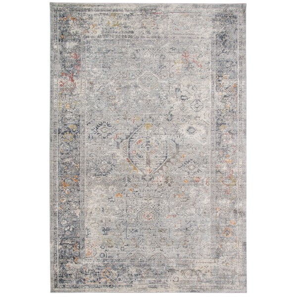 Silver, Brown, Cream Vintage / Overdyed Area Rug