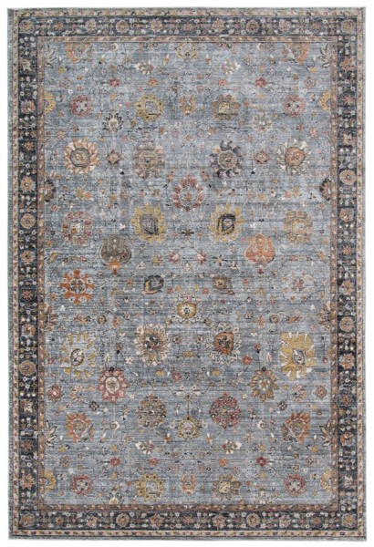 Dark Grey, Blue, Yellow Vintage / Overdyed Area Rug