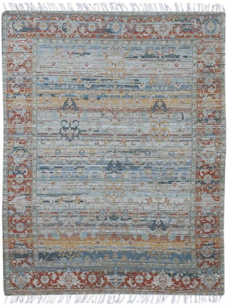 Orange, Blue, Gold Vintage / Overdyed Area Rug