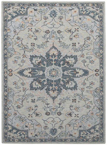 Beige, Blue, Coral Contemporary / Modern Area Rug
