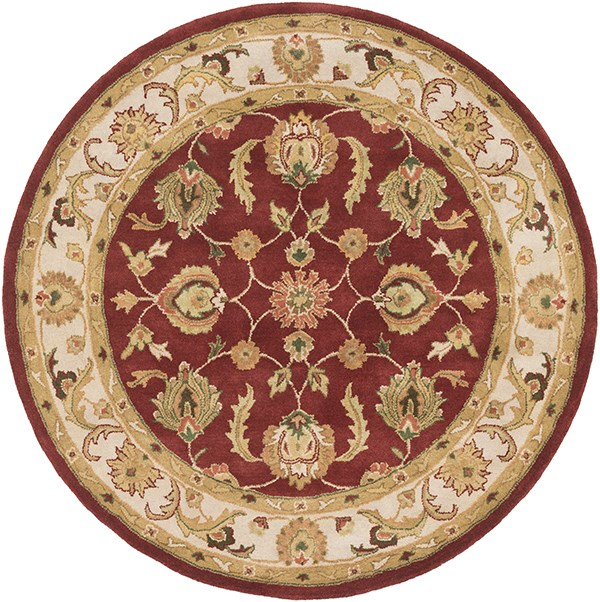 Red, Beige (AWDE-2007) Traditional / Oriental Area Rug