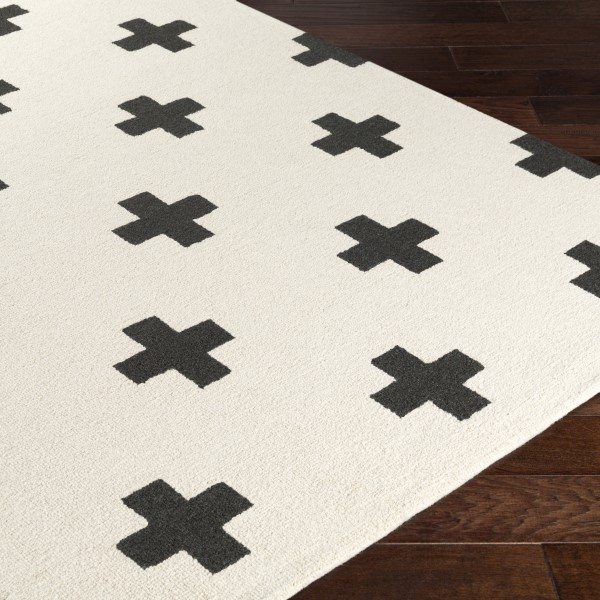 White, Black (HDA-2390) Contemporary / Modern Area Rug
