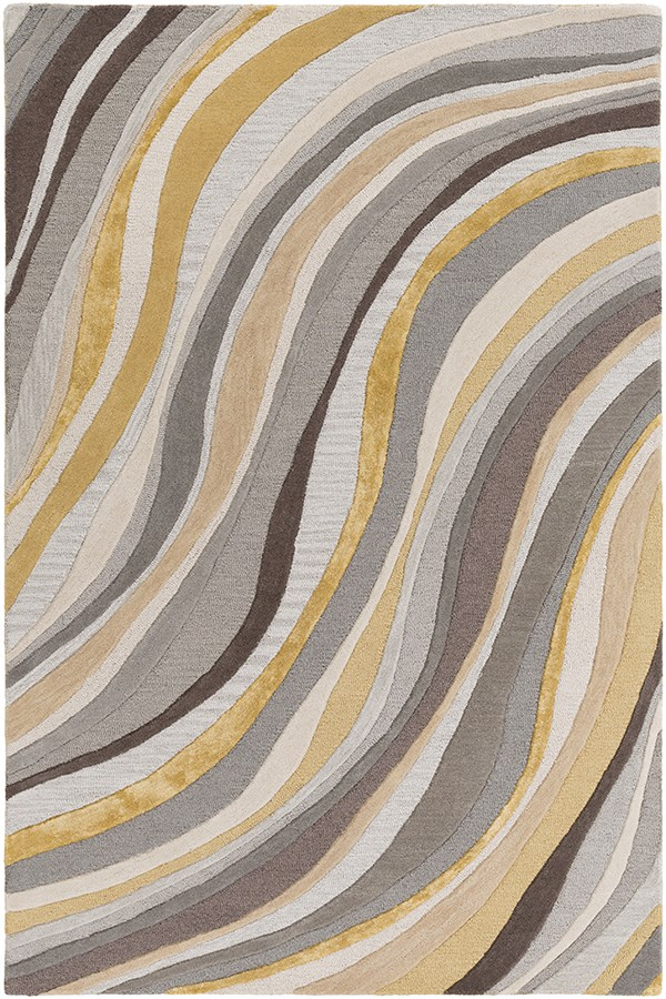 Grey, Gold (LGE-2291) Contemporary / Modern Area Rug
