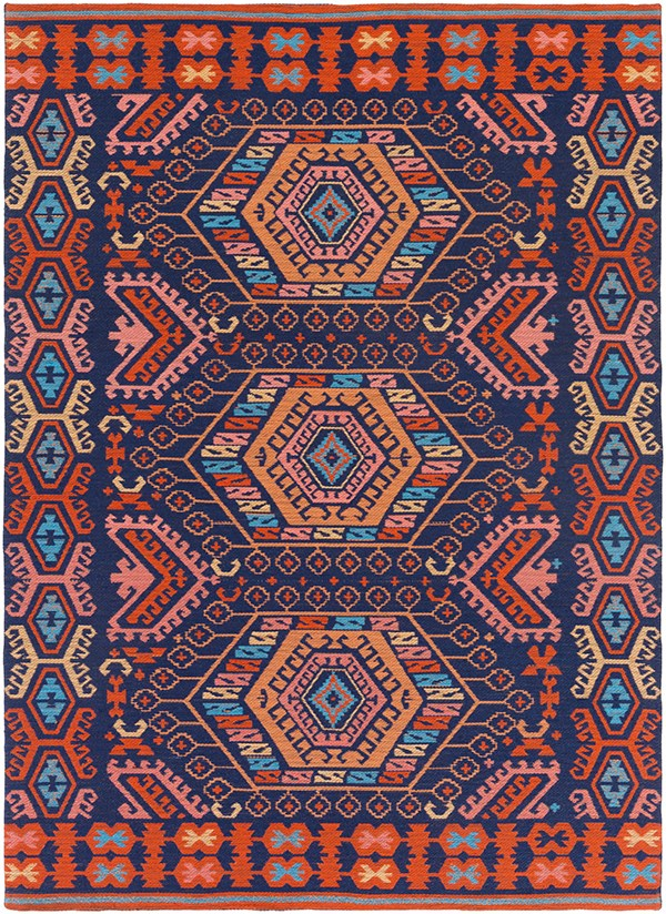 Poppy Red, Navy Blue, Peach (SAJ-1060) Outdoor / Indoor Area Rug