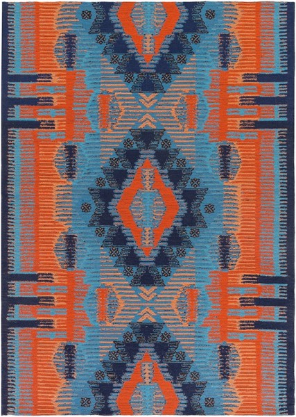 Navy Blue, Poppy Red, Peach (SAJ-1061) Outdoor / Indoor Area Rug