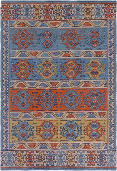 Denim Blue, Poppy Red, Turquoise (SAJ-1062) Outdoor / Indoor Area Rug