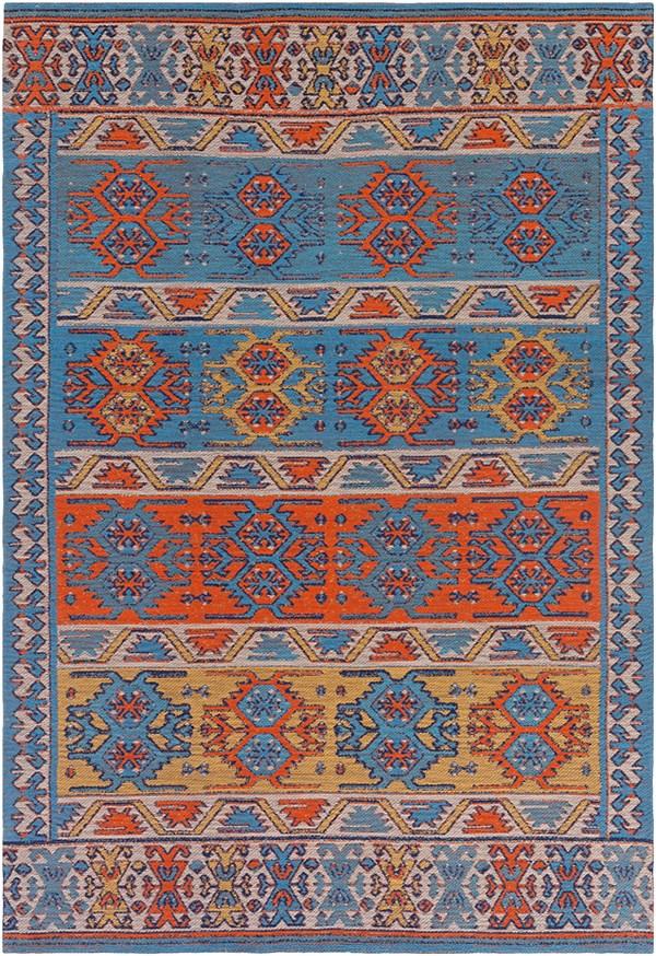 Denim Blue, Poppy Red, Turquoise (SAJ-1062) Outdoor / Indoor Area Rug