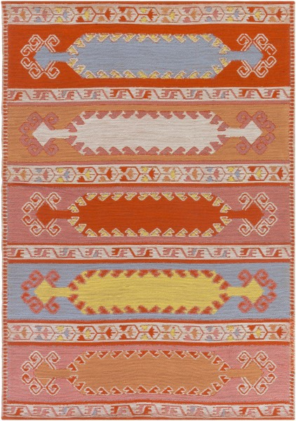 Poppy Red, Denim Blue, Coral, Peach (SAJ-1064) Outdoor / Indoor Area Rug