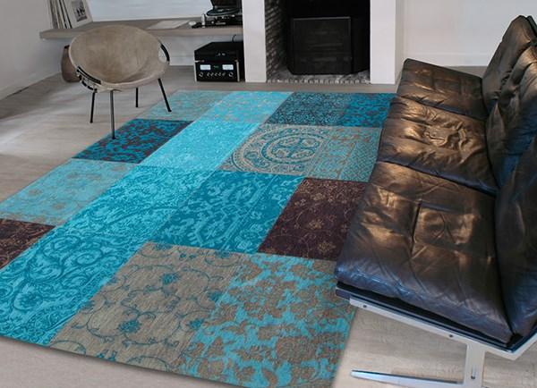 Turquoise, Mole Grey, Dark Brown (8105) Contemporary / Modern Area Rug
