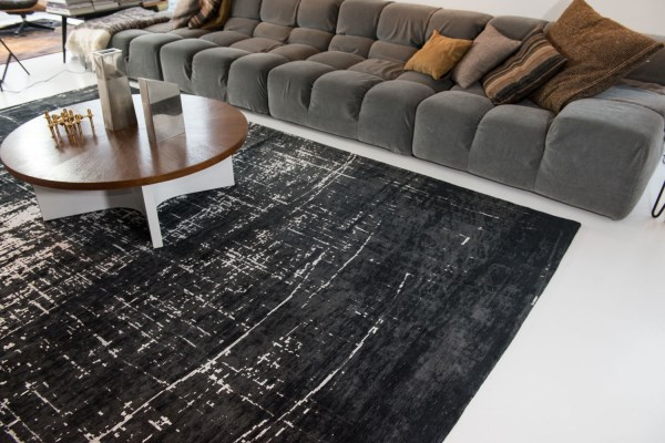 White on Black (8655) Contemporary / Modern Area Rug