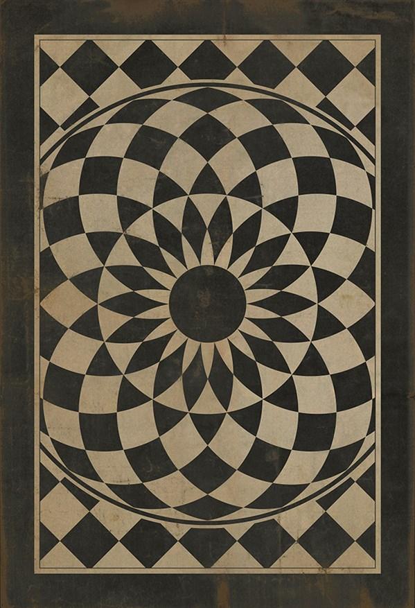 Black, Beige Mandala Area Rug